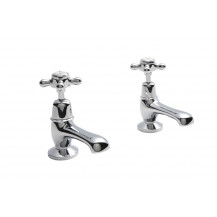 Hudson Reed White Topaz Crosshead Basin Taps with Domed Collar