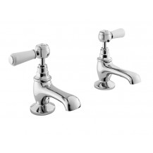 Hudson Reed White Topaz Lever Basin Taps with Domed Collar
