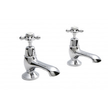 Hudson Reed White Topaz Crosshead Bath Taps with Domed Collar