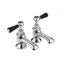 Hudson Reed Black Topaz Lever Bath Taps with Domed Collar