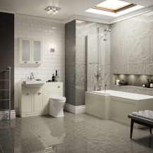 Nottingham Ivory Park Royal Left Hand L Shaped Shower Bath Suite