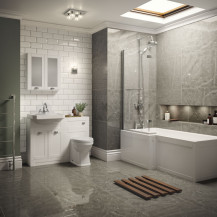 Nottingham White Park Royal Left Hand L Shaped Shower Bath Suite