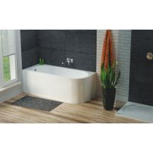 Hudson Reed Dahlia Back To Wall Corner Bath with Panel RH