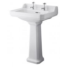 Hudson Reed Richmond 600mm Two Tap Hole Basin & Comfort Height Pedestal