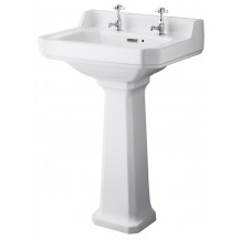 Hudson Reed Richmond 560mm Two Tap Hole Basin & Comfort Height Pedestal
