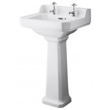 Hudson Reed Richmond 500mm Two Tap Hole Basin & Comfort Height Pedestal