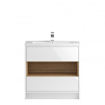 Hudson Reed Coast White Gloss Floor Standing 800mm Vanity Unit with Mid-Edge Basin