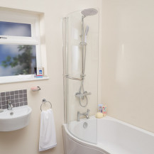 P-Shaped Hinged Bath Shower Screen with Towel Rail