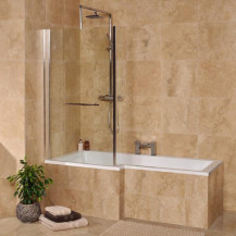 1500 x 700 Left Hand L-Shaped Shower Bath With 6mm Screen