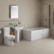 P Shaped 1675 Right Hand Shower Bath, Front Panel, Screen & Veneto Suite