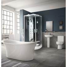 Torrelino Freestanding Bath  with Steam Cabin Complete Bathroom Suite