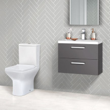 Austin 600 Grey Gloss Wall Hung Vanity Unit with Milan Toilet