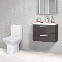 Austin 600 Grey Avola Wall Mounted Vanity Unit with Milan Toilet