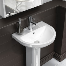 Premier Harmony 500mm One Tap Hole Basin & Semi Pedestal