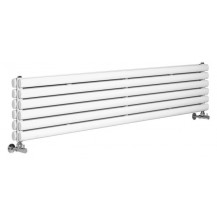 Hudson Reed Horizontal Revive Double Panel Designer Radiator High Gloss White 1500x354 mm