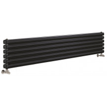 Hudson Reed Horizontal Revive Double Panel Designer Radiator High Gloss Black 1800x354 mm
