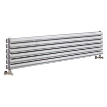 Hudson Reed Horizontal Revive Double Panel Designer Radiator High Gloss Silver 1500x354 mm