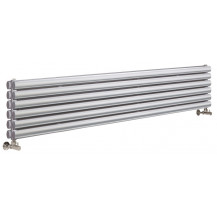 Hudson Reed Horizontal Revive Double Panel Designer Radiator High Gloss Silver 1800x354 mm