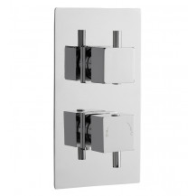 Premier Pioneer Square Twin Thermostatic Shower Valve With Diverter