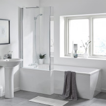 L Shaped 1600 Left Hand Bath with Legset and Fixed Screen