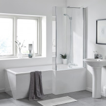 L Shaped 1600 Right Hand Bath with Legset and Fixed Screen