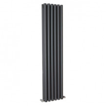 Langham 1600 x 345mm Double Round Panel Anthracite Vertical Radiator