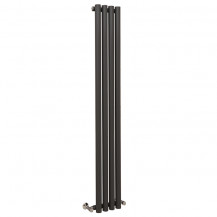 Langham 1600 x 225mm Single Round Panel Anthracite Vertical Radiator