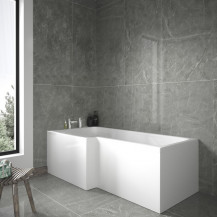 1600mm Left Hand L-Shaped Shower Bath