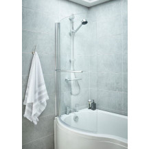 P Shaped 1600 Left Hand Bath with Front Panel, Legset and Hinged Screen with Towel Rail