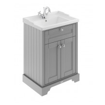 Hudson Reed Old London Storm Grey 600mm One Tap Hole Vanity Unit