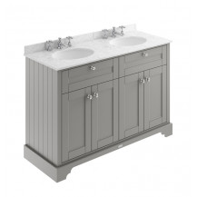 Hudson Reed Old London Storm Grey 1200mm Three Tap Hole Marble Top Vanity Unit