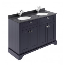 Hudson Reed Old London Twilight Blue 1200mm One Tap Hole Vanity Unit with Black Marble Top