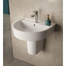Hudson Reed Luna 520mm Basin & Semi Pedestal, One Tap Hole