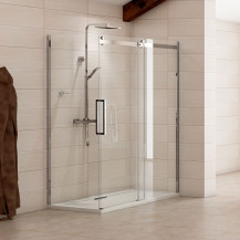 Aquafloe™ Elite ll 8mm 1200 x 800 Frameless Sliding Door Enclosure with Thermostatic Shower