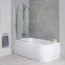 MicroTM 1600 X 800 Luxury Left Handed Shower Bath With Straight Screen
