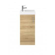 Premier Vault 400mm Natural Oak Single Door Floor Standing Unit and Basin
