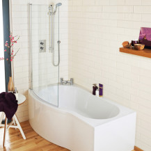 B Shaped Bath 1700 Left Hand With Front Panel and Screen