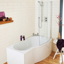 B Shaped Bath 1500 Right Hand With Front Panel and Screen