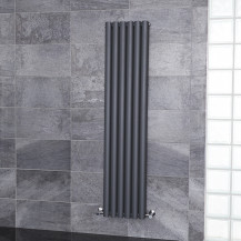 Nevada Beta Heat 1600 x 360mm Double Oval Panel Anthracite Vertical Radiator
