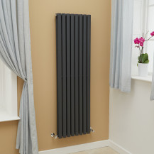 Nevada Beta Heat 1600 x 480mm Double Oval Panel Anthracite Vertical Radiator