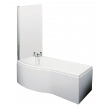 P Shaped 1600 Left Hand Bath with Front Panel, Legset and Hinged Screen