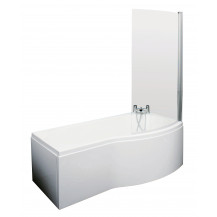 P Shaped 1600 Right Hand Bath with Front Panel, Legset and Hinged Screen