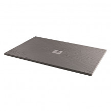 1400 x 900 Grey Slate Effect Rectangular Shower Tray with Waste