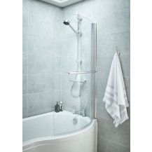 P Shaped 1600 Right Hand Bath with Front Panel, Legset and Hinged Screen with Towel Rail
