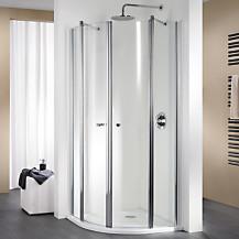 Exklusiv Shiny Chrome Sliding Door Quadrant Shower Enclosure