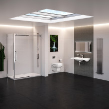 Left Hand Trinity Brianza 10mm Frameless Sliding Shower Complete Bathroom Suite