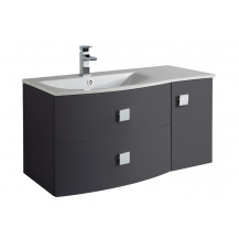 Hudson Reed Sarenna Graphite Wall Hung 1000mm Vanity Unit Left Hand