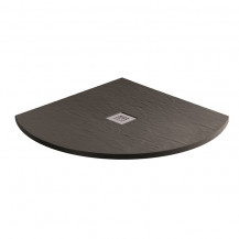 900 x 900 Black Slate Effect Quadrant Shower Tray with Waste
