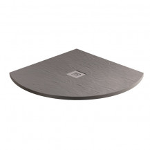 800 x 800 Grey Slate Effect Quadrant Shower Tray with Waste