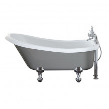 Nottingham 1500 x 750 x 570 Slipper Freestanding Dove Grey Bath With Chrome Feet